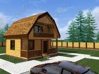"""Проект дома из бруса с балконом и террасой 6x6 м - """"Д10"""""""